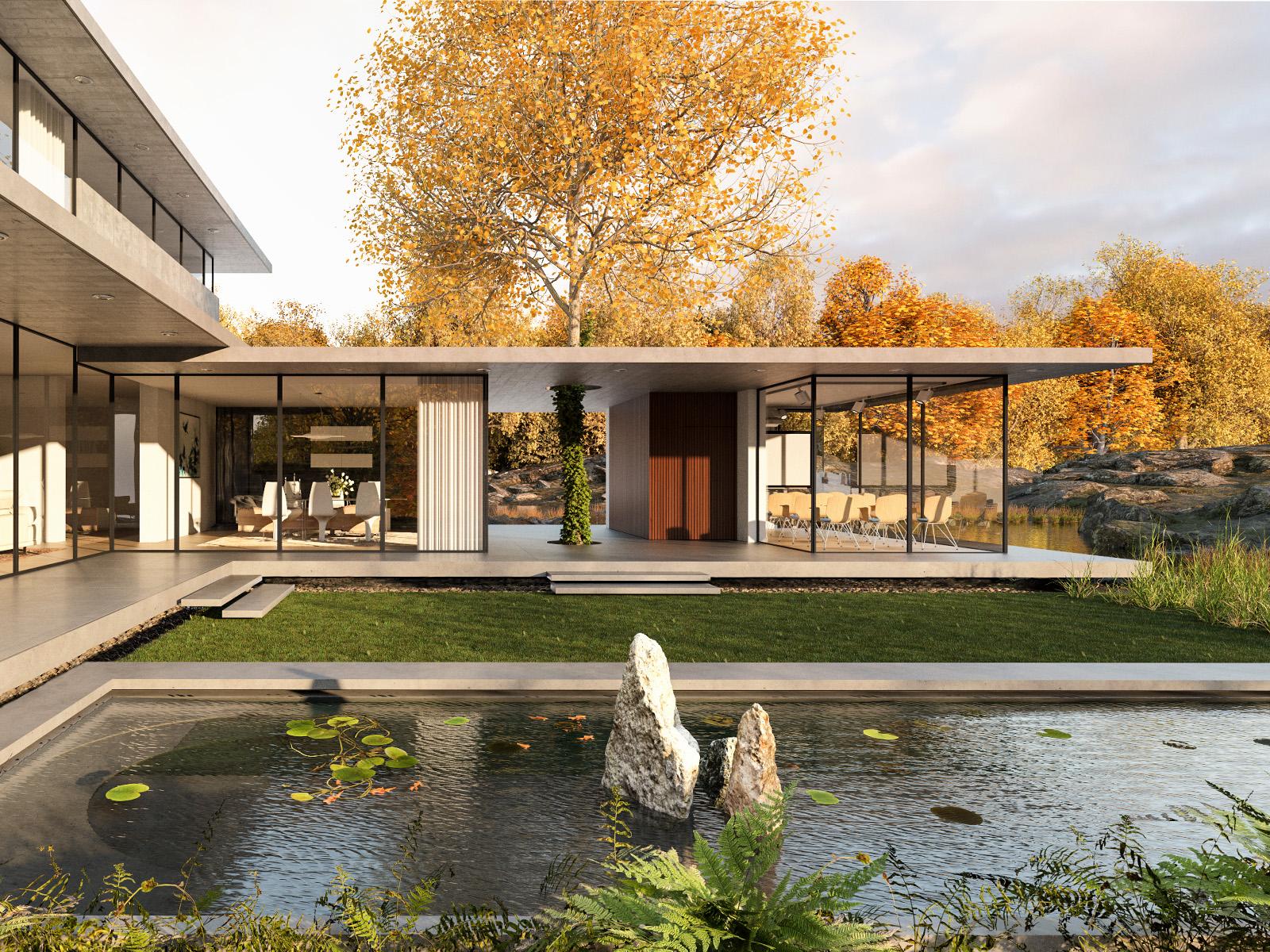 3d Visualisierung Hahn Media Konstruktion einer Villa mit Garten und Gartenteich