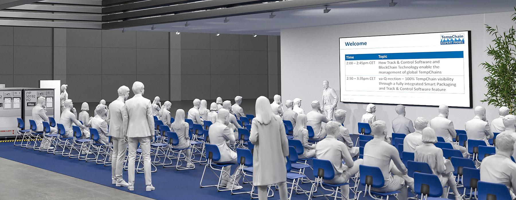Virtueller Messestand - presentation zone, Konstruktion und Rendering